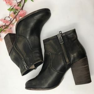 Hinge Brown Distressed Ankle Boots Booties 9.5